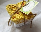 Eco Friendly Cotton Dish cloths (Set of 3) - Yellow, Lemon Swirl and White