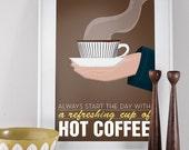 Coffee print, art for kitchen, coffee print,  Stig Lindberg, Scandinavian print, coffee quote, mid century modern, danish modern, Coffe art