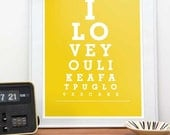 Typography print, funny quote, dog print, pug, love gift - I love you like a fat pug loves cake A3 A4 11x14 or 8x11 print - choose a color