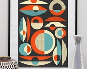 Mid centruy modern poster, geometric abstract print,  Abstract Poster, Modernist art, minimalist wall art, retro wall decor, wall art, retro