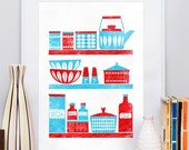 Kitchen art print,  Cathrineholm,  art for kitchen, Scandinavian poster, Mid Century Modern art, blue and red kitchen, retro kitchen