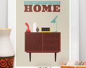 Mid Century Modern Print,  Mid Century print, Danish Modern, retro, Housewarming,  vintage,  Typography  print   -  Home Sweet Home  A3