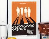 A Clockwork orange movie poster, minimalist movie poster, Stanley Kubrick, retro poster, A2, 18x24,50x70, 24x36