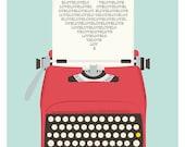 typewriter poster, mid century art, Retro print,  Love print, heart print, words, nuresry print, love poster, pop art, valentines art  A3