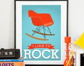 Eames poster, mid century chair, herman miller rocker, quote poster, nursery art, mid century modern, midcentruy art, typographic print
