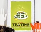 Tea print, Kitchen print, Scandinavian design, Lime kitchen art, Tea quote, Retro poster, Art for Kitchen,  Stig Lindberg, Mid century print