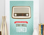 Retro poster, quote print,  Motivational art, vintage radio, midcentury modern, nursery art, positive quote, Inspirational quote, wall art
