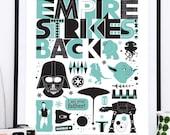 Star Wars Poster, Empire Strieks Back, Movie poster, Film poster, Darth Vader print, Star Wars nursery, art for kids, Geek print, nerd art