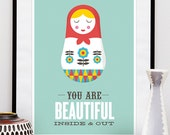 quote print, romantic print, matryoshka print, love print, quote poster, valentines gift, motivational poster, motivational quote, love art