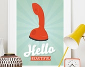 Hello quote print, retro telephone poster, scandinavian design, Ericofon, vintage, mid century modern - Hello Beautiful A3