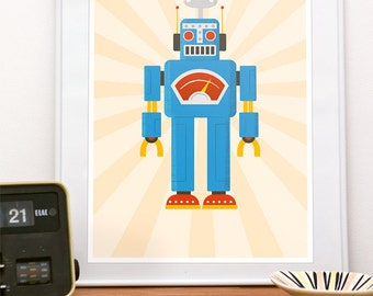 Mid century modern poster mid century print abstract by handz for Robot room decor