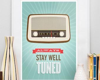 Retro poster, quote print,  Motivational art, vintage radio, midcentury modern, nursery art, positive quote, Inspirational quote, wall art
