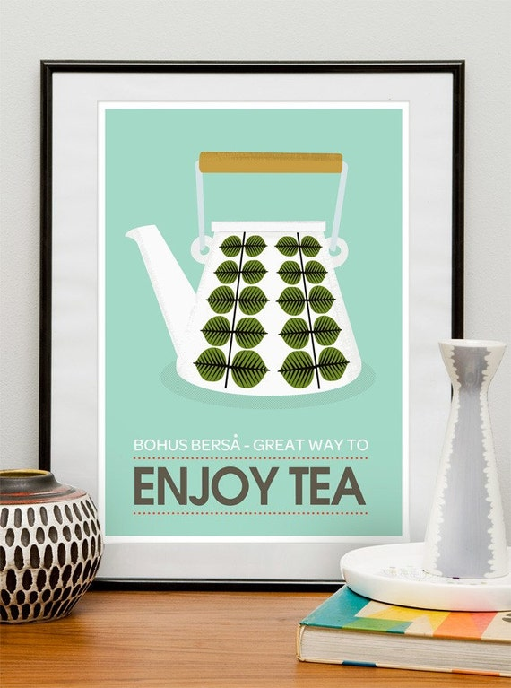 art for kitchen tea print tea poster kitchen decor mid. Black Bedroom Furniture Sets. Home Design Ideas