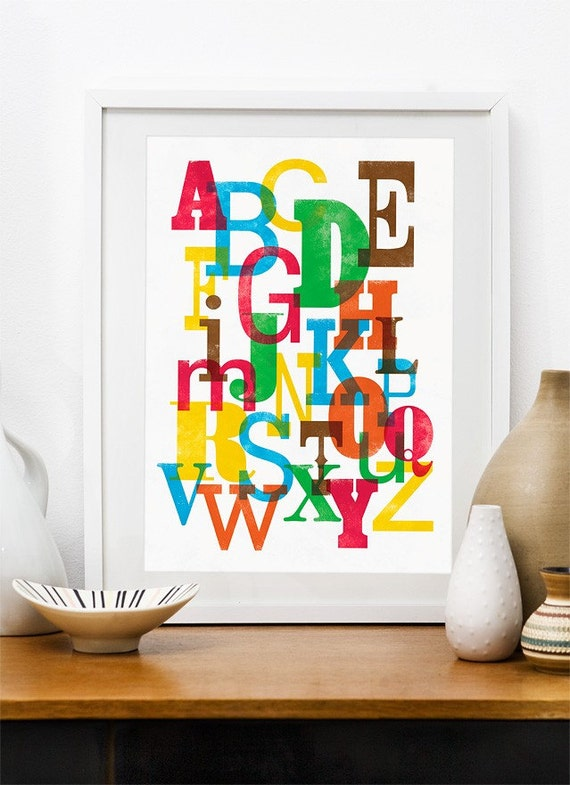 Alphabet poster, letter art, colorful wall decor, nursery print, type poster, letterpress, vintage,