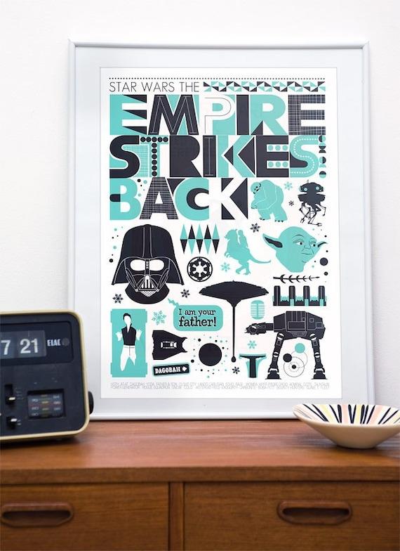 Star Wars poster,  Movie poster, Empire Strikes Back, Star Wars Nursery, Baby Room print, Man Cave art, Geekery print, Minimalist movie art