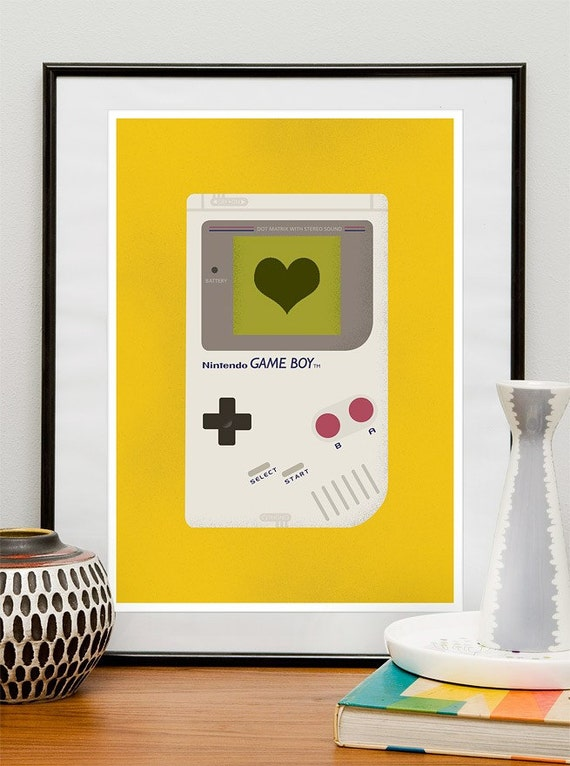 Nursery art print, Nintendo art print poster  Video game Retro art  Baby Nursery print  Kids playroom art,  Gameboy - I love to play  A3