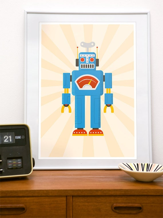 Nursery print, art for kids, robot art, retro nursery, kids room decor, robot print, robot poster, baby room decor, robot nursery art, A3