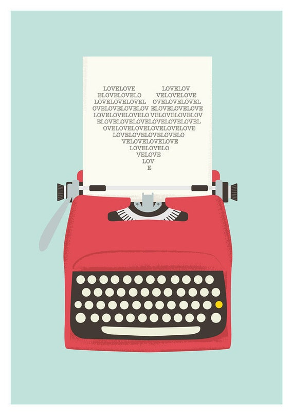 typewriter poster, mid century art, Retro print,  Love print, heart print, words, nuresry print, love poster, pop art, valentines art  A3