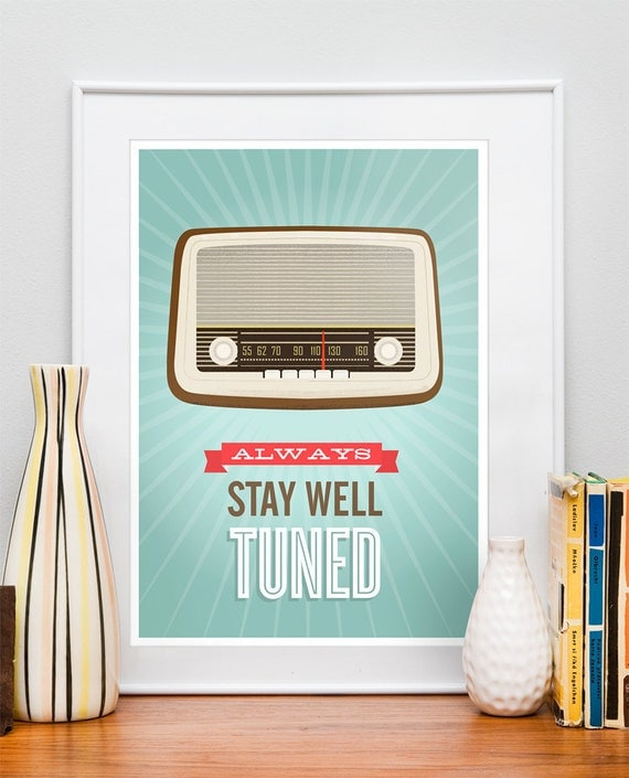 Mid Century Art, Retro vintage radio poster, typography quote art, nursery decor, kids art Stay well tuned A3 size