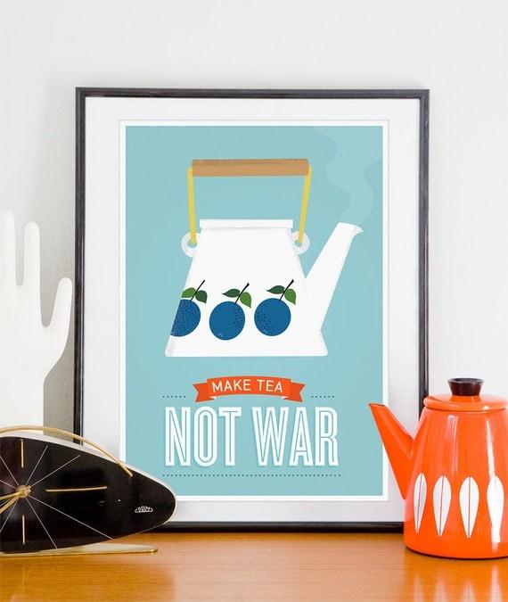 Tea print, kitchen print, Stig LIndberg Prunus, kettle tea pot poster, kitchen quote art, mid century modern, Make tea not War, Tea wall art