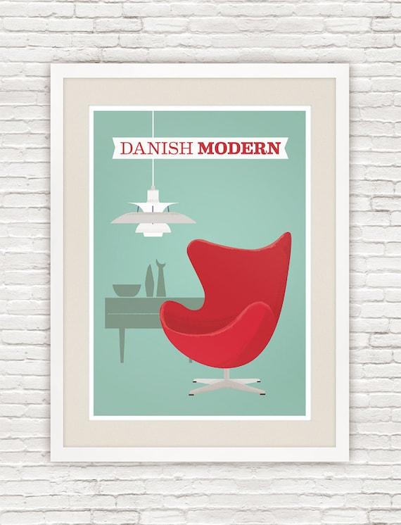 Mid century poster, Danish modern print, Retro art, Scandinavian design, Arne Jacobsen, ph5 lamp,  Modernist print poster, vintage