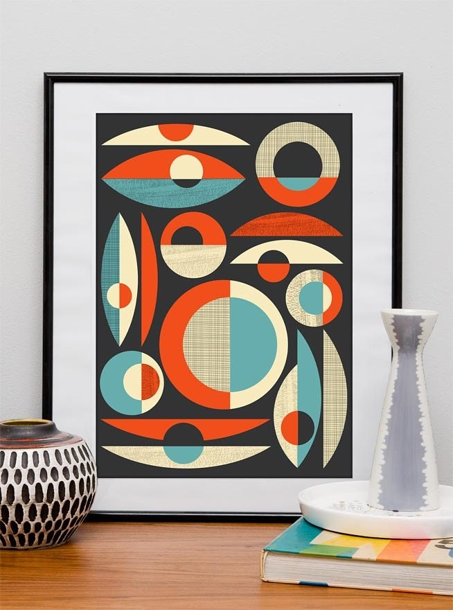 Mid century modern poster mid century print abstract art for Posters art prints