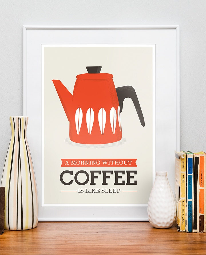Kitchen Art Prints: Kitchen Poster Coffee Print Cathrineholm Kettle Retro