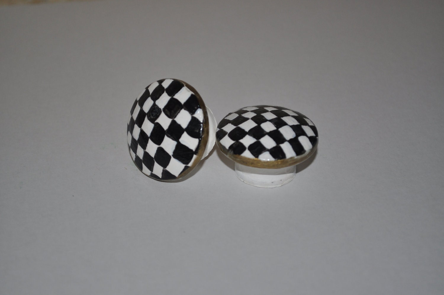 Four Mackenzie Childs Inspired Checkered Drawer Cabinet Knobs