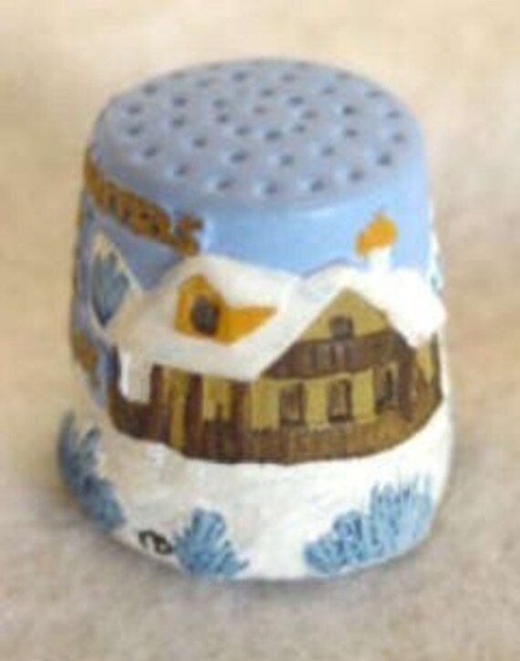 "Vintage English Hand Painted Pewter Thimble.. ""Our House To Yours""- Artist Signed"