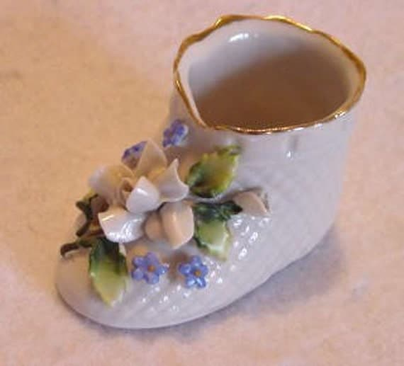 Vintage Miniature Baby Bootie Shoe Elfinware Style Applied Decoration