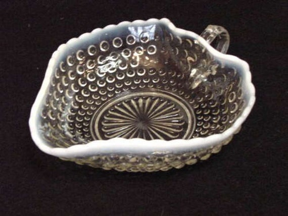 Vintage Depression Glass Crimped Heart Anchor Hocking Bowl Opalescent Moonstone