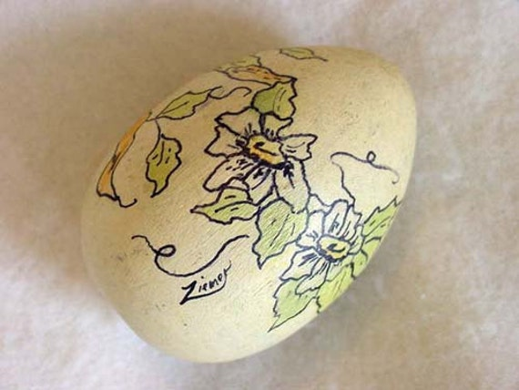 Vintage Decorative Hand Painted Wooden Nest Egg... Floral Design Artist Signed