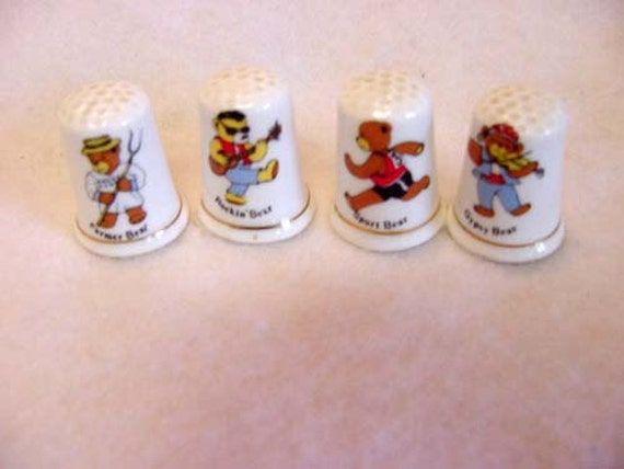 4 Vintage English Bone China Teddy Bear Thimbles.. Rocker, Farmer, Gypsy, Runner