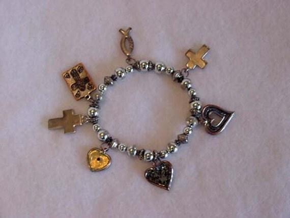 Vintage Silvertone Bead & Charm Stretch Bracelet.  CHRISTIAN CHARMS