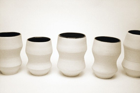 Angular Black and White Porcelain Glasses