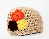 Newborn Crochet Hat Infant Girl Baby Tan Flower Beanie Hat  Taupe Orange Yellow Brown Bouquet Autumn made to order - MyStitchInTime