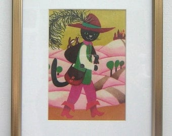 Vintage Puss In Boots Framed Vinyl Record Picture