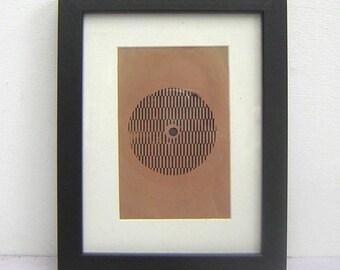 Vintage Framed Vinyl Rare Taupe/Black Record