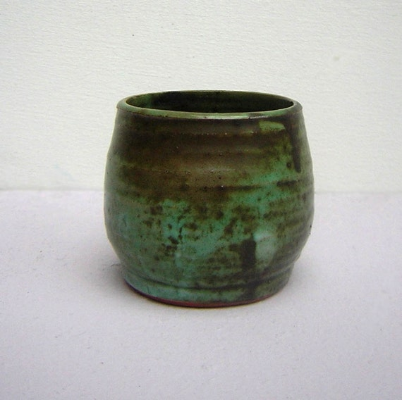 Small Handmade Forest Green & Brown Coloured Pot