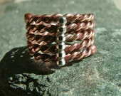 Copper & Sterling Silver Rope Ring Size 8