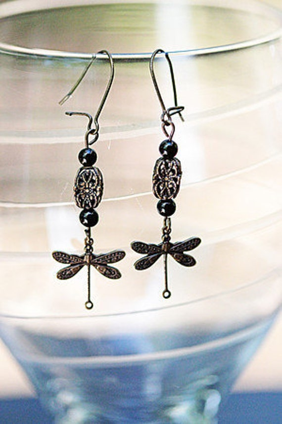 Brass and Onyx Dragonfly earrings
