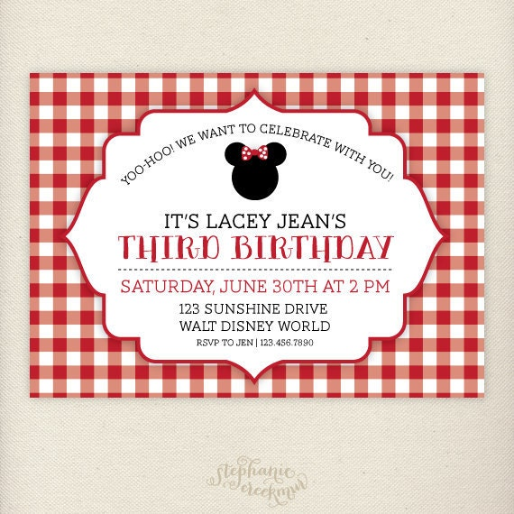 PRINTABLE Red Gingham Minnie Mouse Birthday Invitations