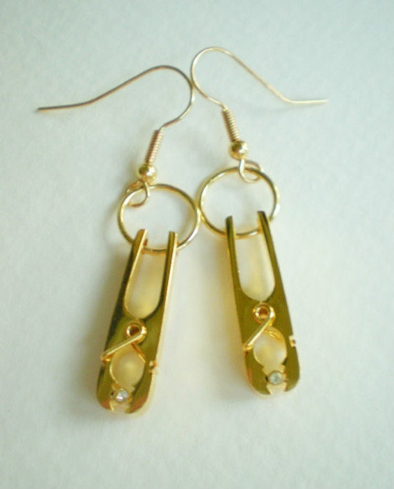 OOAK Gold Clothespin - Urban Couture Earrings