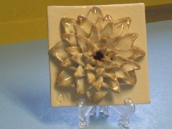Ceramic Flower Tile Sculpture, White Puffy Dahlia bloom sculpture, Art tile, Decorative tile, Ceramic flower, decoration, Easter flower