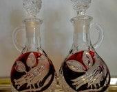 Oil and Vinegar Carafes Ruby Red Vintage Flashglass Hofbauer Byrdes Set of Cut Crystal