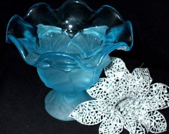 Vintage Turquoise Blown Glass Vase