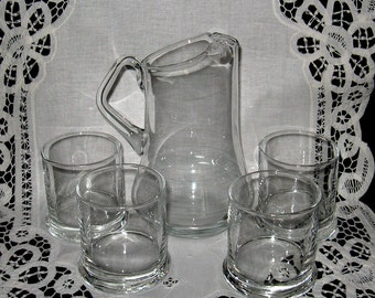Pitcher and  Four High Ball Glasses Beverage Set