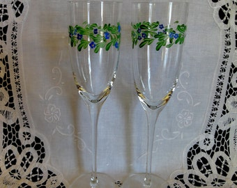 Vintage Champagne Flutes Hand Painted Flower Design Two of a Kind