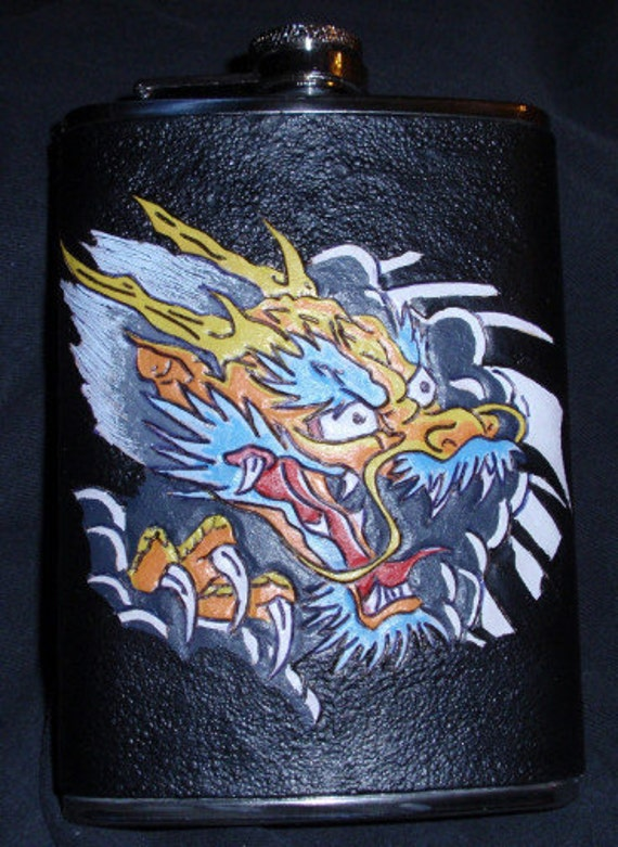 Japanese Dragon Flask Leatherbound 8oz Stainless Steel