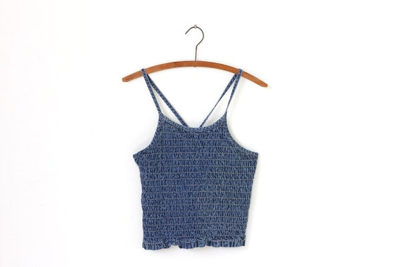 middle america, denim scrunch tank top